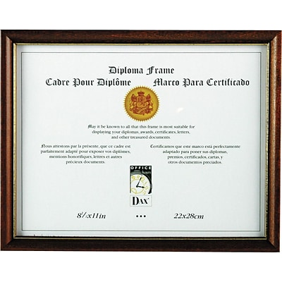 DAX® Two-Tone Document/Diploma Frame, Wood, 8 1/2 x 11, Maple, Each (N17981MT)