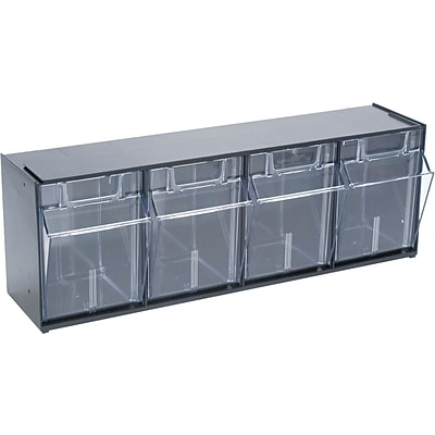 Deflect-O® Tilt Bin™ Interlocking Stackable Storage Bins, 4 Bins, 8-1/8Hx23-5/8Wx6-5/8D, Black