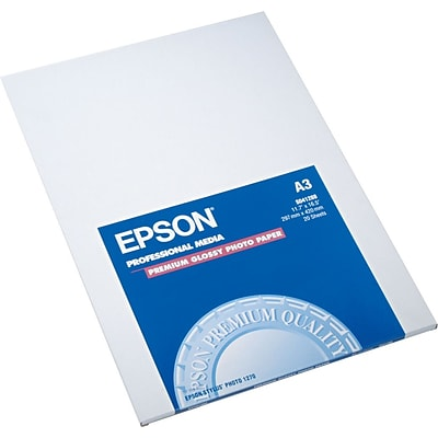 Epson Ink Jet Photo Paper, Premium Glossy, 68 lbs., A3-Size (11.7 x 16 1/2), 20 Sheets/Pk