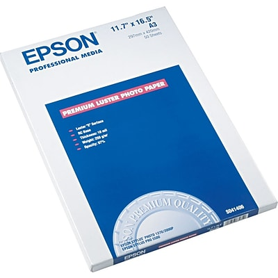 Epson Ink Jet Paper, Luster, Stylus Photo 870/875, DC-1270/2000, 64 lbs., 11.7 x 16 1/2, 50 Sheets/Pk