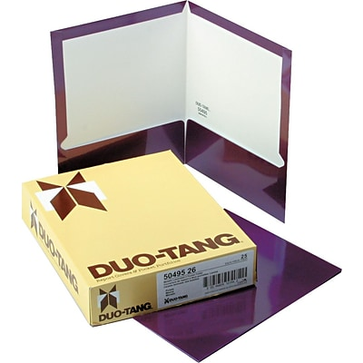 Oxford Laminated Two Pocket Portfolios, Metallic Purple, 9 1/2 x 11 5/8, 25/Bx