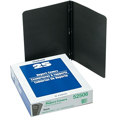 Oxford® Panel And Border Report Cover, Black, 8 1/2 x 11, 25/Bx