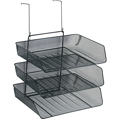 Fellowes® Mesh Partition Additions™ Triple Tray, Black, 17 3/8H x 11 1/8W x 14D