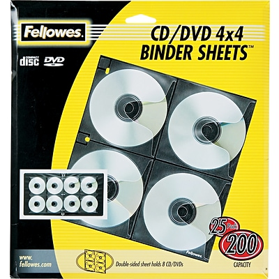 Fellowes® CD/DVD Binder Sheets, Double-Sided, 25 per Pack