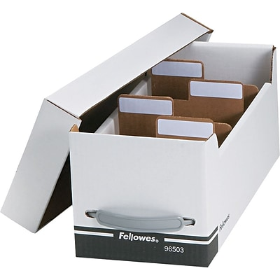Fellowes® Corrugated Paper Media File, Holds 125 Diskettes/35 Standard Cases, White/Black