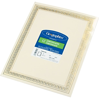 Geographics© Blank Recycled Foil Enhanced Award Certificates, 24-lb., Gold Stamped Flourish Design, 8 1/2H x 11W, 12/Pack