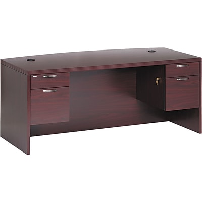 HON® 11500 Series Valido™ Office Collection in Mahogany, Double Pedestal Bow Top Desk