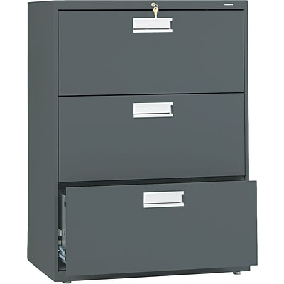 HON® Brigade® 600 Series 3 Drawer Lateral File Cabinet, Charcoal, 30W (HON673LS)