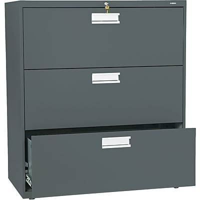 HON® Brigade® 600 Series Lateral Files; 3-Drawer, 36 Wide, Charcoal
