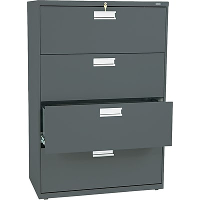 HON® Brigade 600 Series Lateral File Cabinet, A4/Legal/Letter, 4-Drawer, Charcoal, 19 1/4D (684LS)