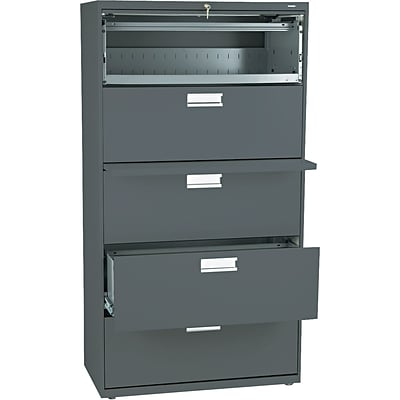 HON® Brigade 600 Series Lateral File Cabinet, A4/Legal/Letter, 5-Drawer, Charcoal, 19 1/4D (685LS)