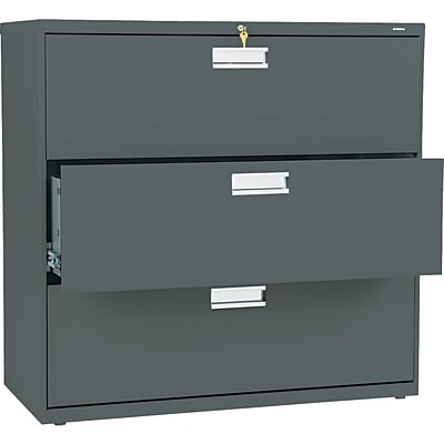 HON® Brigade® 600 Series Lateral Files; 3-Drawer, 42 Wide, Charcoal