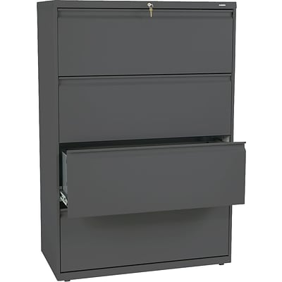 HON Brigade® 800 Series Lateral File, 4-Drawer, 53-1/4Hx36Wx19-1/4D, Charcoal