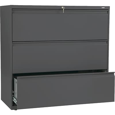 Hon® Brigade® 800 Series 3-Drawer Lateral File Cabinet, Charcoal, Letter/Legal (893LS)