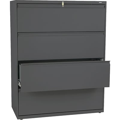 HON Brigade® 800 Series Lateral File, 4-Drawer, 53-1/4Hx42Wx19-1/4D, Charcoal