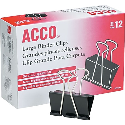 ACCO® Binder Clips, Non-Slip Grip, 150 Sheet, Black, 12/Box, Large
