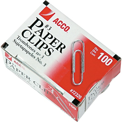 ACCO Economy Paper Clips, Silver Finish, #3 Size, Mini, 100/Bx, 10 Boxes/Pack