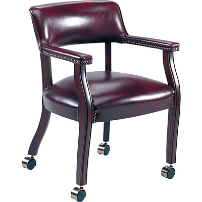 Alera® Traditional Vinyl Guest Chairs; Arm Chair with Casters