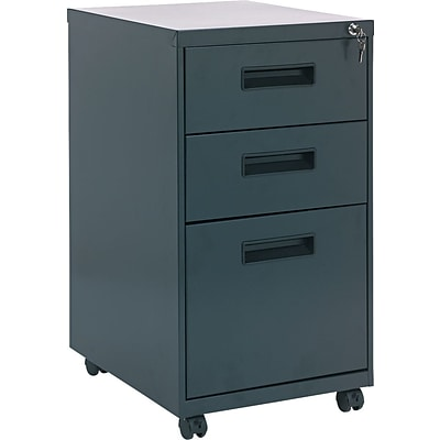 Alera 19 Deep, 3  Drawer Mobile Vertical File Cabinet, Charcoal