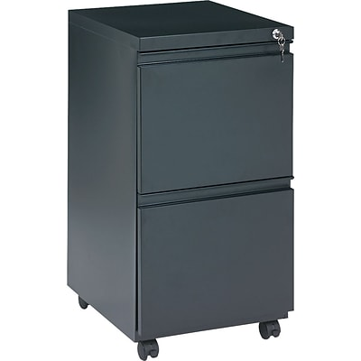 Alera 19 Deep, 2 Drawer Full Length Pull Mobile Vertical File Cabinet, Black
