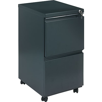 Alera 19 Deep, 2 Drawer Full Length Pull Mobile Vertical File Cabinet, Charcoal