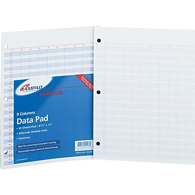 Ampad Evidence® Heavyweight Side-Punched Data Pad, 9+ Summary Columns
