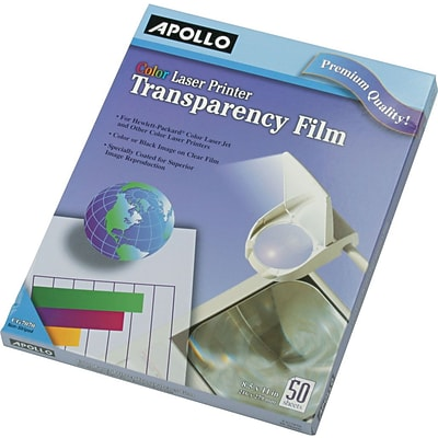 Apollo® Color Laser Printer/Copier Transparency Film, Letter, Clear, 8 1/2(W) x 11(H), 50/Box