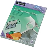Apollo® Write-On Transparency Film, Clear, 8-1/2(W) x 11(H), 100/Box