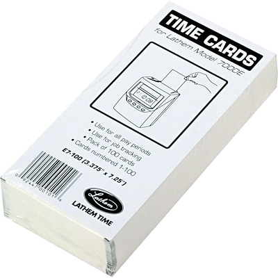 Lathem® Time Cards for 7000E and 7500E, 100/Pack