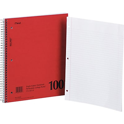 Mead Single-Subject Mid Tier Notebook, 8 1/2 x 11, College Ruled, 100 Sheets/Book (MEA06546)