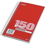 Mead®Spiral Bound Notebook 9-1/2x6,College Ruling, Assorted Colors, 150 Sheets/Pad, 12/Carton