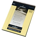 Cambridge® Stiff-Back Wirebound Steno Notebook, Canary Paper, 1-Subject, 8-1/2 x 11