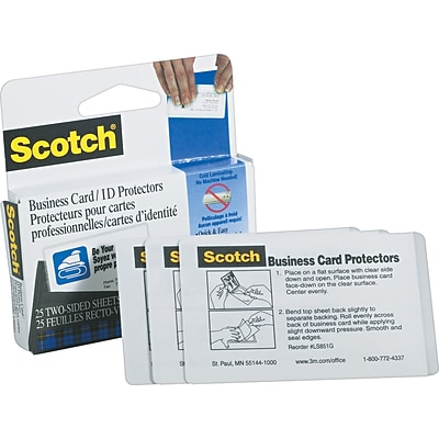 Scotch® Business Card Size Self-Adhesive Laminating Pouches, 9.5 mil, 25 pack