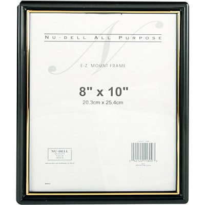 NuDell™ EZ Mount Document Frame, Black with Gold Border, 8 x 10 (11800)