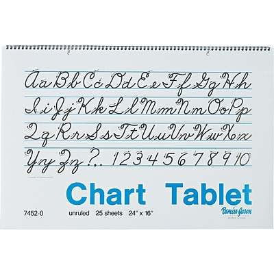 Pacon Two-Hole Punched Chart Tablet with Cursive Cover, 24 x 16, Unruled, 25 Sheets/Pad