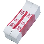 PM Company Self-Stick White Kraft Currency Straps, Color Coded for $500, Red, 1,000/Pack