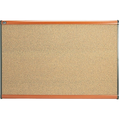 Quartet® Prestige® Colored Cork Bulletin Board, 3 x 2, Cherry Finish Frame