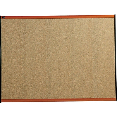 Quartet® Prestige® Colored Cork Bulletin Board, 4 x 3, Cherry Finish Frame