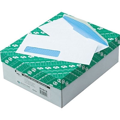 Quality Park Gummed Security Tinted Window #10 Envelopes, 4 1/8 x 9 1/2, White, 500/Bx (21412)