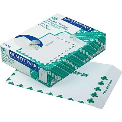 28 lb White Wove Quality Park 10 x 13 First Class Catalog Envelopes QUA44786 100 per Box Redi-Strip Self-Sealing Closure First Class Border