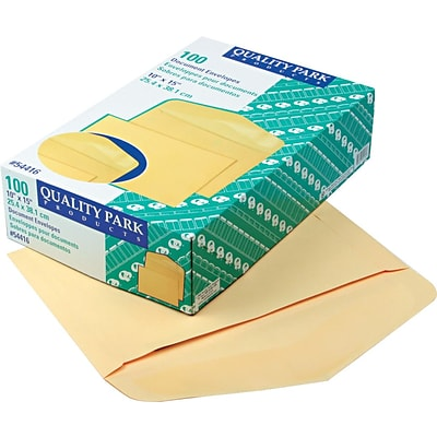 Quality Park Gummed Open Side Document Envelopes, 10 x 15, Cameo Buff, 100/Bx