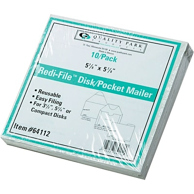 6 x 5 7/8 Quality Park Self-locking Recycled Redi-File TM Disk Mailer Envelopes, White, 10/Pk (QUA64112)