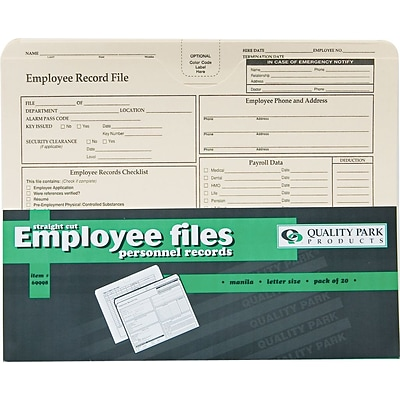 Quality Park® Letter Employee Record Folder, Manila Letter Record Folder, Manila, 20/Pack