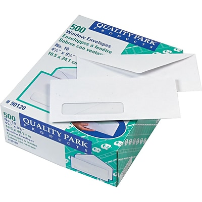 Quality Park Gummed V-Flap Window #10 Envelopes, 4 1/8 x 9 1/2, White, 500/Bx (QUA90120)