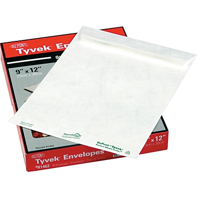 Quality Park Flap-Stick Lightweight Tyvek Catalog Envelopes, 9 x 12, White, 50/Box (QUAR1462)