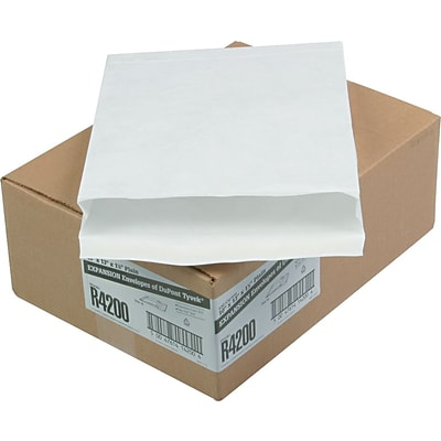 Quality Park Self-Adhesive Tyvek Expansion Mailer Envelope, #97, 18-lb., White, 10 x 13 x 1 1/2, 100/Ct