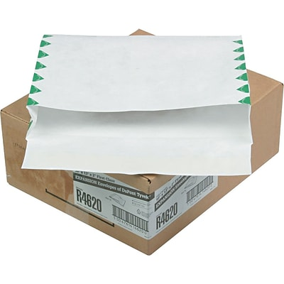 Quality Park Tyvek® First Class Booklet Expansion Mailers, Side Seam, #97, White/Green, 10W x 13L, 100/Ct