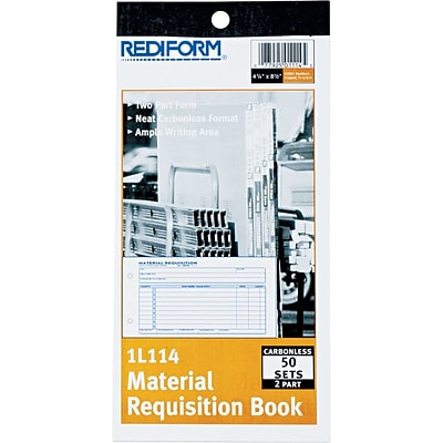 Rediform Material Requisition Book, 2 Parts, Carbonless, 4 1/4 x 7 7/8, 50/Pk