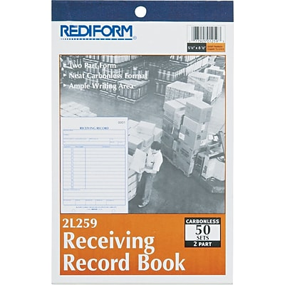 Rediform Receiving Record Book, 2 Parts, Carbonless, 5 1/2 x 7 7/8