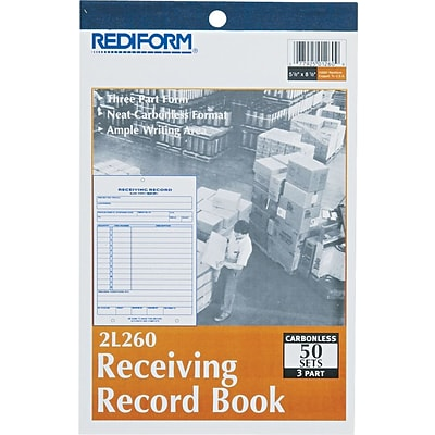 Receiving Record, Carbonless, 3 Parts, 5-1/2x7-7/8